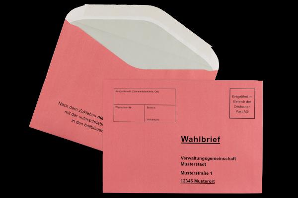 Roter Wahlumschlag B6, bedruckt